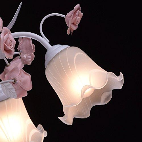 Deckenleuchte Metall weiß Farbe rosa Florentiner art deco Porzellan weiß - 6