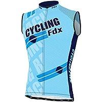 FDX - Camiseta de ciclismo sin mangas transpirable, para hombre, color azul celeste, tamaño Medium