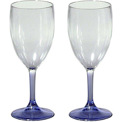 Siehe Beschreibung PC-Rotweinglas AMATO klar/blau 400 ml 2 Stück Glas-Optik bruchfest - Camping...