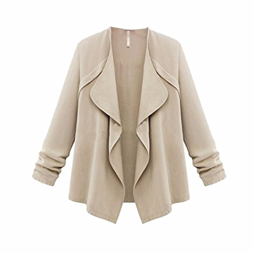 YunYoud Damen Frühling Herbst Große Größe Mantel Frau Lose Einfarbig Tops Lange Ärmel Outwear Mode Beiläufig Jacke (XXXL, Khaki)