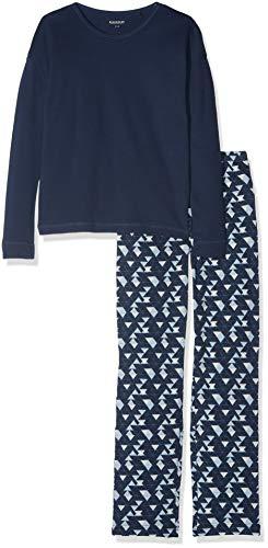 Schiesser Mädchen Family Anzug lang Zweiteiliger Schlafanzug, Blau (Dunkelblau 803), 140 (Herstellergröße: XS)
