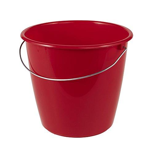 ok Eimer mit Metallbügel, Stabiler Kunststoff (PP), Rund, 5 l, Rot