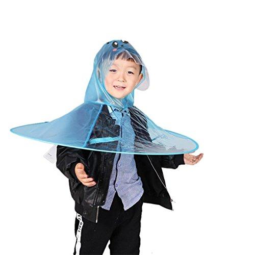 Moonuy Kinder Regenmantel Regen Mantel Cute UFO KinderPoncho Regenschirm Hut Magische Hände frei Regenmantel Getriebe für Mädchen, Jungen (D (M))