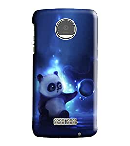 Hi-Me Designer Phone Back Case Cover Motorola Moto Z Play ( Trippy Cute Baby Bear Panda )
