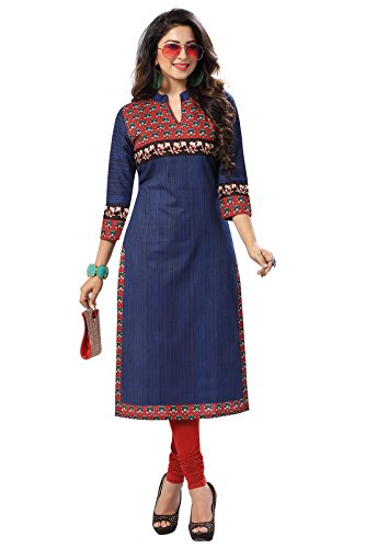 Ishin Pure Cambric Cotton Blue Printed Party Wear Wedding Wear Casual Daily Wear Office Wear Festive Wear Bollywood New Collection Latest Design Trendy Women\'s Unstitched Kurti/Kurta Fabric