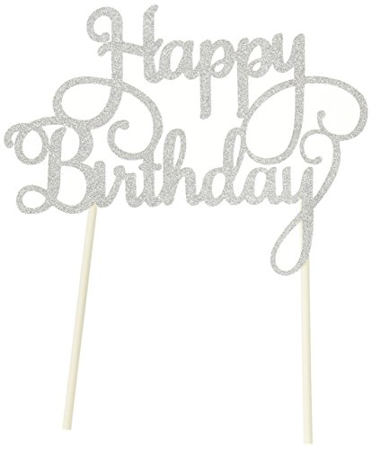 Putwo 1count handmade happy birthday cake decorating topper per torta di compleanno party supplies–argento