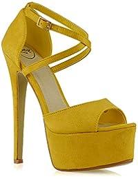 73541ed7f462f ESSEX GLAM Sandalo Donna Peep Toe con Lacci Plateau Tacco a Spillo Alto
