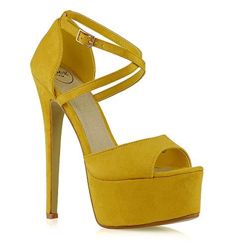 ESSEX GLAM Sandalo Donna Peep Toe con Lacci Plateau Tacco a Spillo Alto (UK 4 / EU 37 / US 6, Senape Finto Scamosciato)
