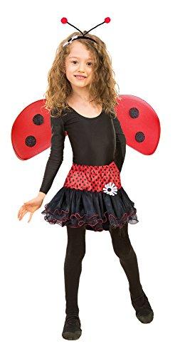 Marienkäfer Kostüm Set für Mädchen - Tolles 3-tlg. Kostümset für Fasching oder Karneval (Teen Marienkäfer Kostüm)