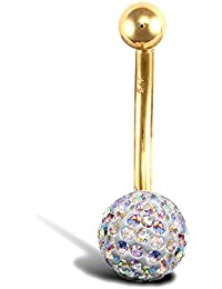 Jewelco London Ladies 9ct Yellow Gold Rainbow Round Crystal 8mm Disco Ball Banana Belly Bar, 12mm