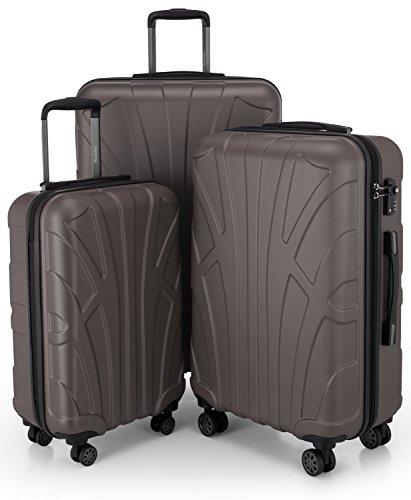 SUITLINE - 3er Koffer-Set Trolley-Set Rollkoffer Hartschalen-Koffer Reisekoffer, TSA, (S, M & L), Koffer-Set, 76 cm, 210L, Titan