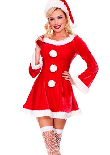 Baymate Donna di Natale Costumi del Partito Carnevale Cosplay Principessa Vestito Rosso (Vestito+Cappello+Regalo borsa)
