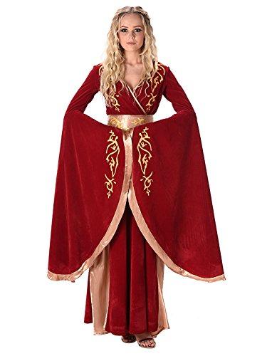 Kostüme Renaissance Mittelalter (Fantasy Königin Mittelalter Damenkostüm rot-gold)