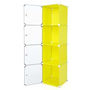 Songmics® DIY Regalsystem Badregale Eckregal Kinderregal Kleiderschrank Kommode Kapazität 200L Gelb 148 x 40 x 37 cm LPC04Y