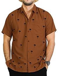 La Leela bouton brun aloha classique manches courtes vers le bas brodé hawaïennes hommes de chemise de surfeur caribbean xs - 5xl