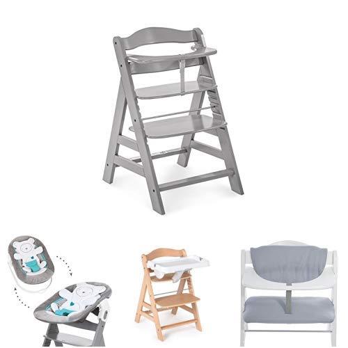 Hauck Newborn Set (4 Piezas): Trona Alpha en gris + Hamaca (Cojin reductor: Osito) en Hearts Grey + Bandeja en blanco + Cojín Deluxe en gris claro
