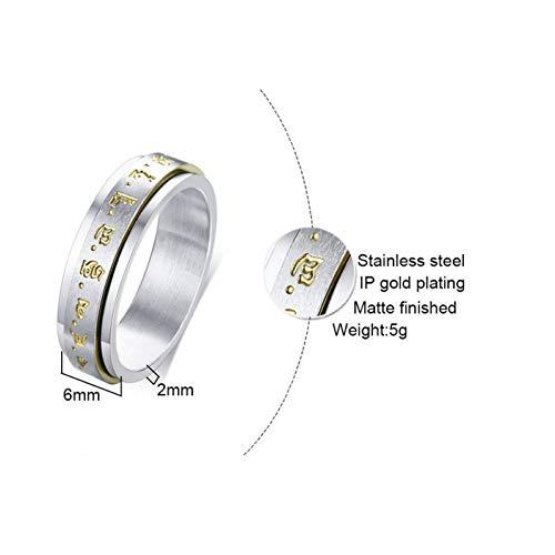 ERDING Unisex/Verlobungsring/Freundschaftsring/Doppelschicht Spinner Ring für Männer Edelstahl Gelb Mammon Band Religiöse Casual Männerschmuck