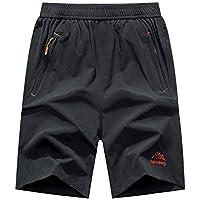 SUKUTU Pantalones Cortos de Secado rápido para Hombres Pantalones Cortos de Entrenamiento Sueltos, Ligeros, Transpirables, Ligeros y al Aire Libre, con Bolsillos con Cremallera