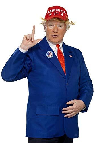 shoperama Donald Trump Herren-Kostüm + Gratis Maske Jackett Krawatte Kappe Anstecker Politiker, - Donald Trump Kostüm