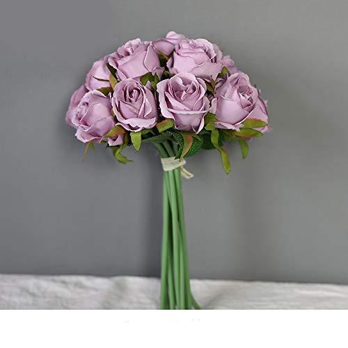 12 Köpfe Blumen Hochzeit Bouquet Braut Blume gefälschte Seide künstliche Blume Rose Kranz Garland Home Decor Light Purple -