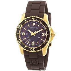 Victorinox Swiss Army Maverick 241615 - Reloj analógico de cuarzo para mujer, correa de goma color marrón (agujas luminiscentes)