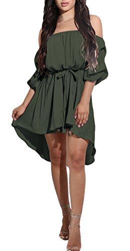 Damen Elegant Sommer Lange Ärmel Schulterfreies Skaterkleid Einfarbig Asymmetrisch Elastisch A-linie Cocktailkleid Abendkleid Festlich Partykleid Strandkleid (Schnee Weiße Kleider Für Erwachsene)