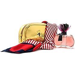 Coffret Femme La Petite Fleur Noire avec un foulard et une trousse de toilette or