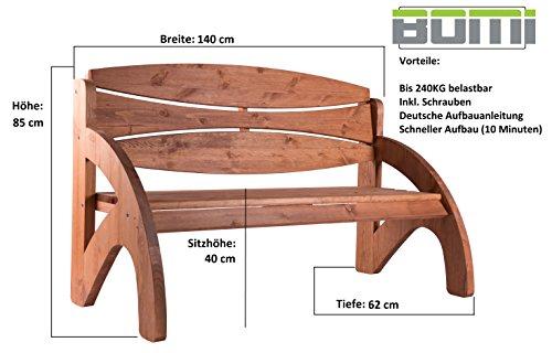 Bomi Gartenbank 3 Sitzer Holzbank Kirschbaum