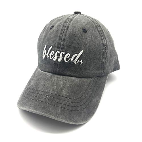 212cafb51 Waldeal Embroidered Adult Unisex Blessed Wash Distressed Dad Hats Blessed  Mama Grateful Thankful Baseball Cap Black