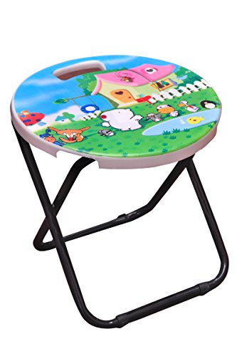 Fg Light Weight Folding Stool Portable (Metal And Plastic, Multicolor)