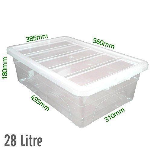 Unterbettkommode, 28 l, durchsichtig, Plastik Aufbewahrungsboxen/Dosen mit Deckel, hergestellt im UK