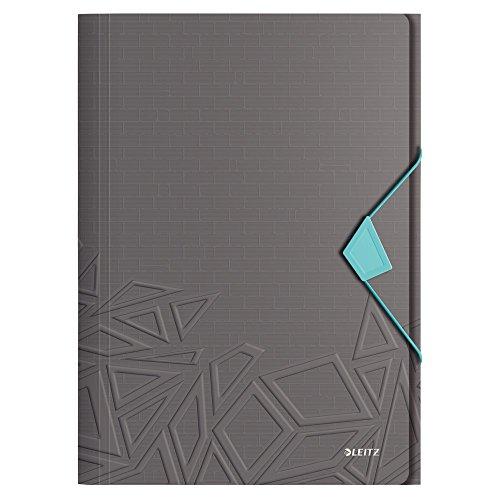 Leitz cartella a 3 lembi, capacità 150 fogli, a4, chiusura a elastico, polipropilene, grigio scuro/azzurro, gamma urban chic, 46490089