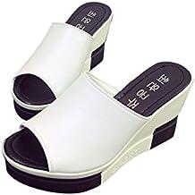 ❉Sandales Compensées Femmes Tongs Chaussures Compensées Chaussures De Plage  Mules Chausson Pantoufles été Mode Loisirs e8c629cd1fae