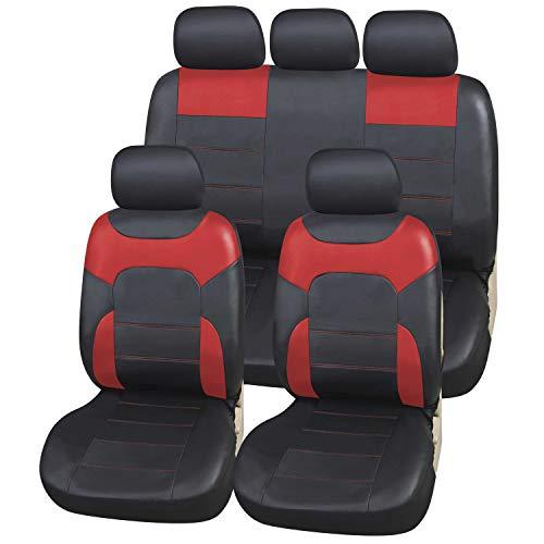 Upgrade4cars Auto-Sitzbezüge Leder-Optik Rot | Universal Auto-Sitzschoner Set für Sommer & Winter | Kunstleder Auto-Schonbezüge für die Vordersitze & Rückbank