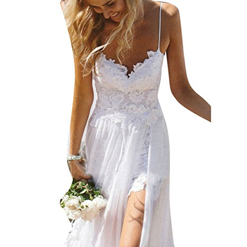 Kootk Spitzenkleid Lang Damen Elegant Kleider Brautjungfer Träger Kleid Hochzeit Cocktailkleid...