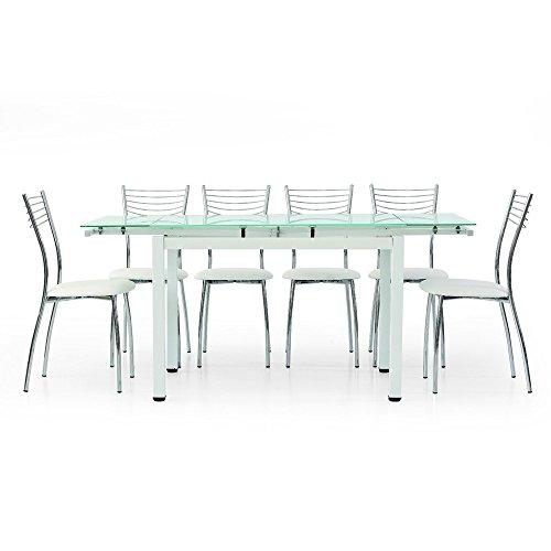 MilaniHome Tavolo da Pranzo Moderno di Design Allungabile Bianco con Piano in Vetro 70 X 100/145/180 per Interno Sala da Pranzo Cucina