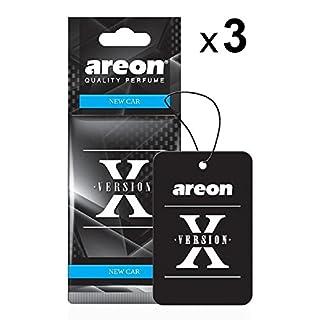 AREON X Autoduft Neuwagen New Car Auto Lufterfrischer Schwarz Aufhänger Anhänger Spiegel Pappe 2D (Set Pack x 3)