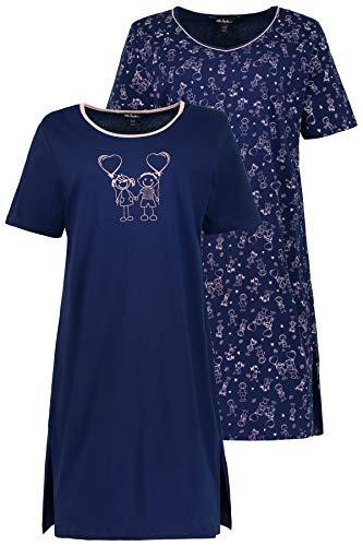 Ulla Popken Große Größen Damen Nachthemd Big-Shirt 2er Pack, Strichmännchen (Blau 71), 56 (Herstellergröße: 54+) - Amazon Von Größe Plus Dessous