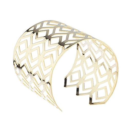 Bracelet manchette, doré, poli, découpe en zigzag à extrémité ouverte, Lux Accessories
