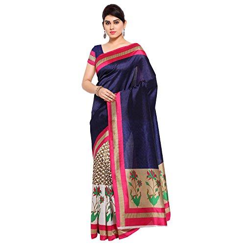 Oomph! Women's Art Silk Sarees Party Wear/Printed Art Silk Sarees, Blue, Tortilla Brown