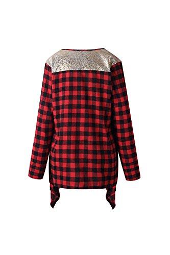 Le Donne Con Lustrini Mosaico Aperta Davanti Libero Occasionale Asimmetrici Cardigan Maglione Red