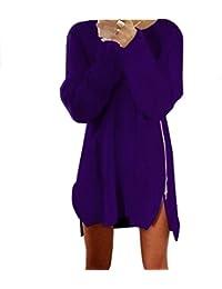K-youth® Mujer Vestido Jersey Suéter con Cremallera Largo Mangas Largas Vestidos Elegante Pullover Ropa Sudadera Moda para Fiesta…