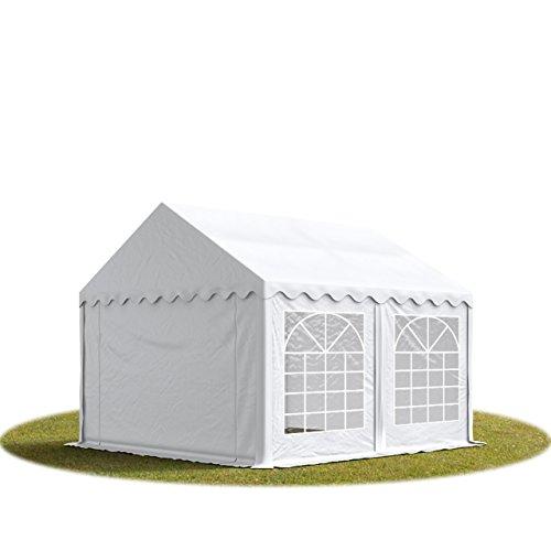 TOOLPORT Party-Zelt Festzelt 4x5 m Garten-Pavillon -Zelt 500g/m² PVC Plane in weiß Wasserdicht