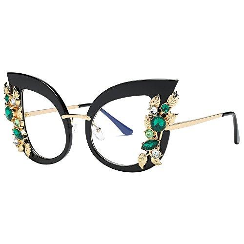 Likecrazy Damenmode Künstliche Diamant Sonnenbrillen Klassische Katze Ohr Metallrahmen Marke Brillenfassung Brillengestell für Jungen Und ()