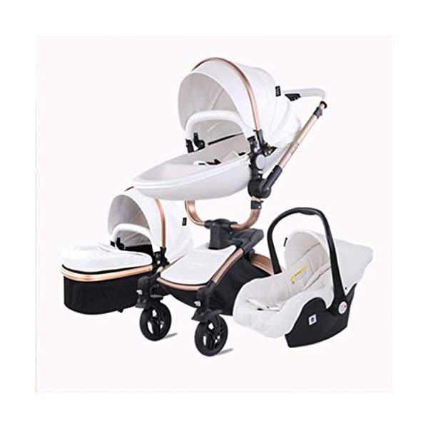 Stroller, Two-Way SUV-Class Stroller, High-Profile Light Folding Baby Four-Wheeled Cart YSSY - Triangular frame, greatly improving the load-bearing and shock-absorbing performance of the body. - High-end environmentally-friendly PU leather, waterproof and anti-fouling, a clean wipe. - SUV-level suspension design, easy to apply to a variety of road surfaces. 1