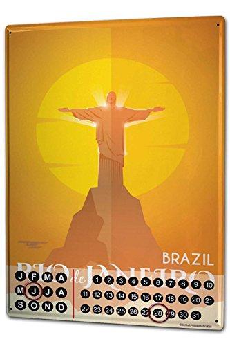 Wandkalender 2019 Jahreskalender Dauerkalender 2020 Kalender 2021 Terminplaner Fotokalender Fernweh Stadt Rio de Janeiro Brasilien Metall Magnet