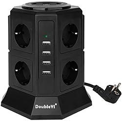DoubleYI Tour Multiprise Parasurtenseur Parafoudre 8 Prises avec 4 USB 4,5A Ports - Cordon de 2m - Noir (Protection jusqu'à 1000 joules)