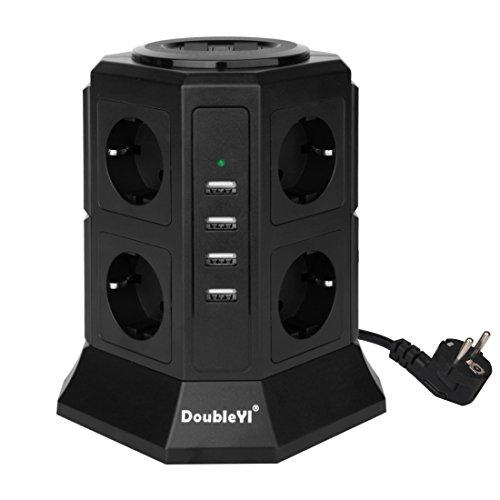 DoubleYI 8 Fach Steckdosenleiste Mehrfachsteckdose Steckerleiste Steckdosenturm und 4 USB Ladeanschlüsse ( 4,5 A) mit 2,0 m Kabel und energiesparend hat 1000 J Überspannungsschutz und Blitzschutz