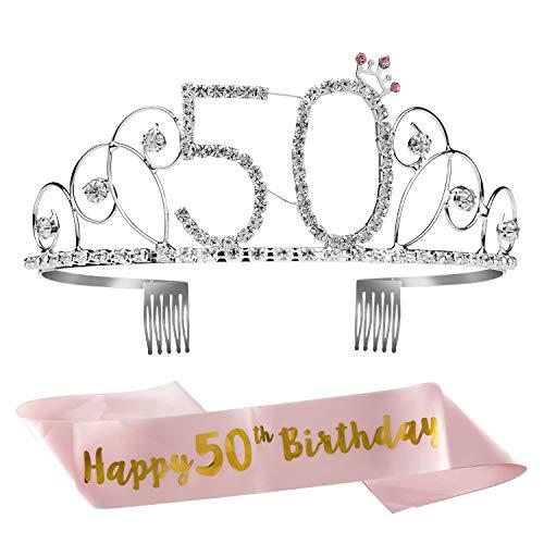 ZWOOS Cristal Cumpleaños Corona Princesa Feliz Cumpleaños de Número 50 Accesorios con Peine Faja de Cumpleaños para Suministros para Fiestas de Feliz cumpleaños, Favores, Decoraciones