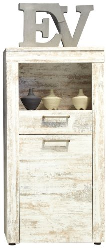 trendteam RV Highboard Regal Wohnzimmerschrank | Canyon Pinie Weiß | Shabby Chic | 66 x 133 cm